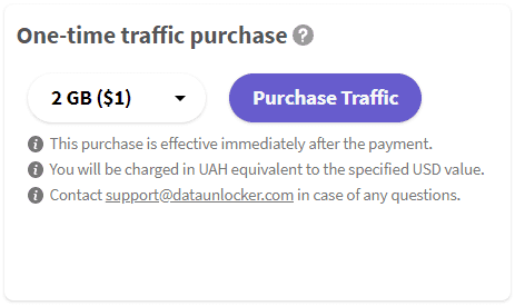 Purchasing DataUnlocker's traffic using one-time purchase